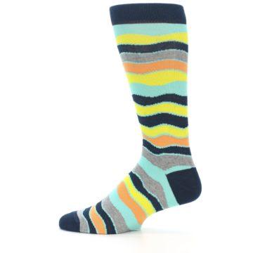 Image of Bright Multi Color Wave Stripe Men's Dress Socks (side-2-12)