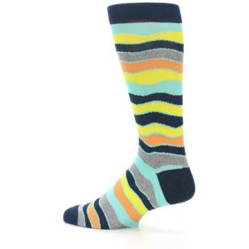 Image of Bright Multi Color Wave Stripe Men's Dress Socks (side-2-13)