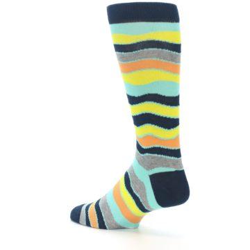 Image of Bright Multi Color Wave Stripe Men's Dress Socks (side-2-back-14)