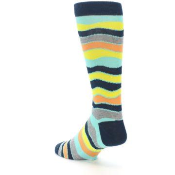 Image of Bright Multi Color Wave Stripe Men's Dress Socks (side-2-back-15)