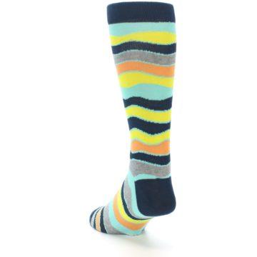 Image of Bright Multi Color Wave Stripe Men's Dress Socks (side-2-back-16)