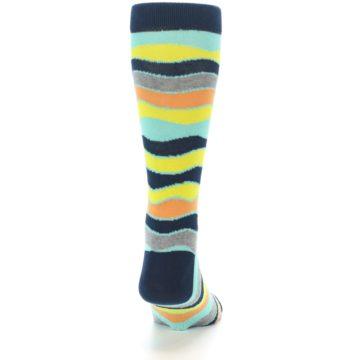 Image of Bright Multi Color Wave Stripe Men's Dress Socks (back-19)