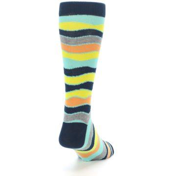 Image of Bright Multi Color Wave Stripe Men's Dress Socks (side-1-back-20)