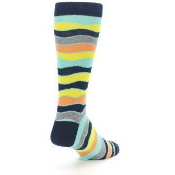 Image of Bright Multi Color Wave Stripe Men's Dress Socks (side-1-back-21)