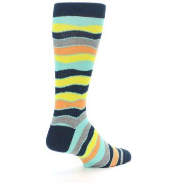 Image of Bright Multi Color Wave Stripe Men's Dress Socks (side-1-back-22)