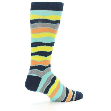 Image of Bright Multi Color Wave Stripe Men's Dress Socks (side-1-23)