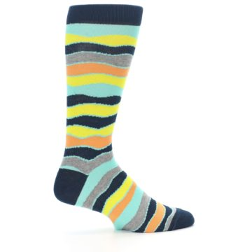 Image of Bright Multi Color Wave Stripe Men's Dress Socks (side-1-24)