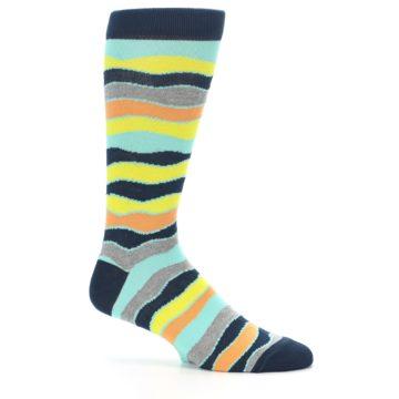 Image of Bright Multi Color Wave Stripe Men's Dress Socks (side-1-25)