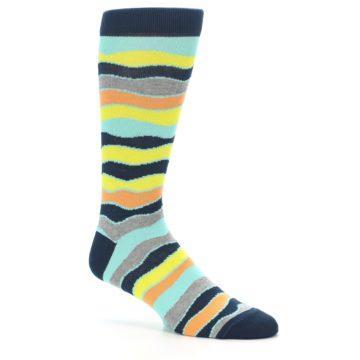 Image of Bright Multi Color Wave Stripe Men's Dress Socks (side-1-26)