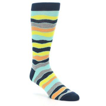 Image of Bright Multi Color Wave Stripe Men's Dress Socks (side-1-27)