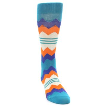 Image of Teal Orange Zig-Zag Stripe Men's Dress Socks (side-1-front-03)