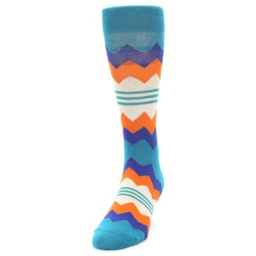 Image of Teal Orange Zig-Zag Stripe Men's Dress Socks (side-2-front-06)