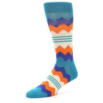 Image of Teal Orange Zig-Zag Stripe Men's Dress Socks (side-2-09)