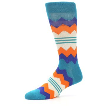Image of Teal Orange Zig-Zag Stripe Men's Dress Socks (side-2-10)