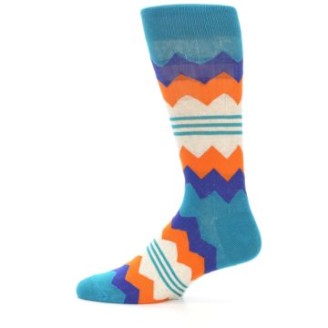 Image of Teal Orange Zig-Zag Stripe Men's Dress Socks (side-2-12)