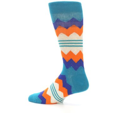 Image of Teal Orange Zig-Zag Stripe Men's Dress Socks (side-2-13)
