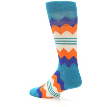 Image of Teal Orange Zig-Zag Stripe Men's Dress Socks (side-2-back-14)