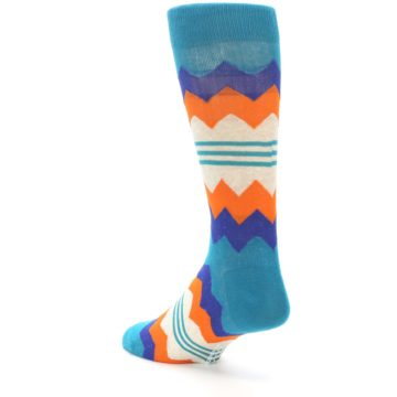 Image of Teal Orange Zig-Zag Stripe Men's Dress Socks (side-2-back-15)