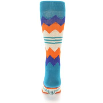 Image of Teal Orange Zig-Zag Stripe Men's Dress Socks (back-18)