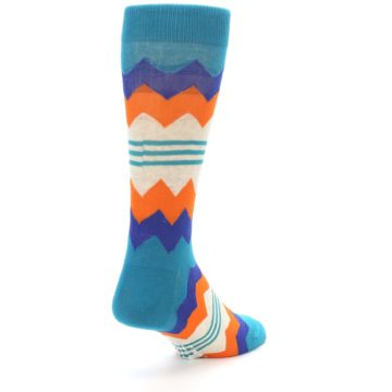 Image of Teal Orange Zig-Zag Stripe Men's Dress Socks (side-1-back-21)