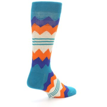 Image of Teal Orange Zig-Zag Stripe Men's Dress Socks (side-1-back-22)
