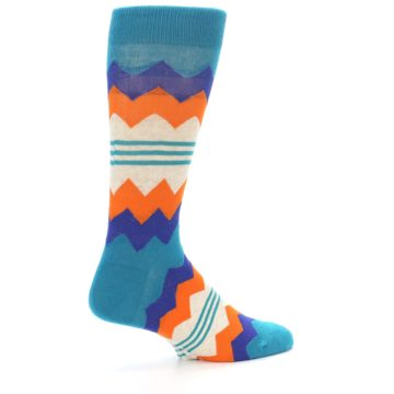 Image of Teal Orange Zig-Zag Stripe Men's Dress Socks (side-1-23)