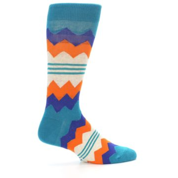 Image of Teal Orange Zig-Zag Stripe Men's Dress Socks (side-1-24)