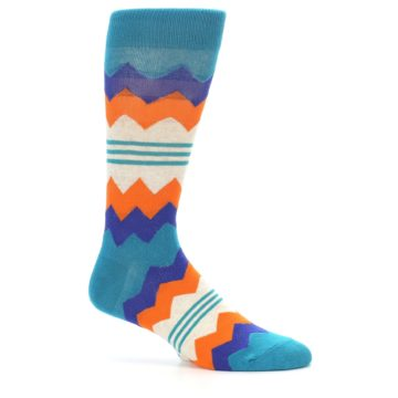Image of Teal Orange Zig-Zag Stripe Men's Dress Socks (side-1-25)