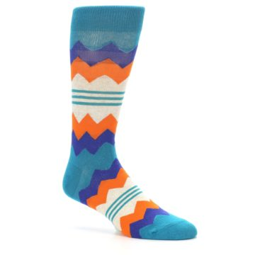 Image of Teal Orange Zig-Zag Stripe Men's Dress Socks (side-1-26)
