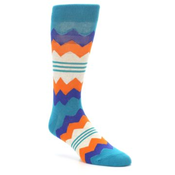 Image of Teal Orange Zig-Zag Stripe Men's Dress Socks (side-1-27)