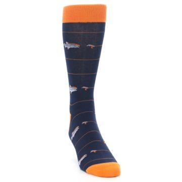 Image of Navy Orange Fish Men's Dress Socks (side-1-front-03)