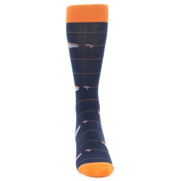 Image of Navy Orange Fish Men's Dress Socks (front-04)