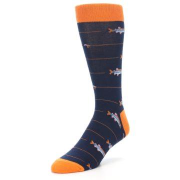 Image of Navy Orange Fish Men's Dress Socks (side-2-front-08)