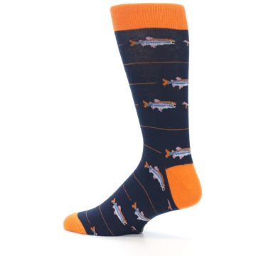 Image of Navy Orange Fish Men's Dress Socks (side-2-13)