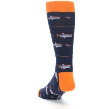 Image of Navy Orange Fish Men's Dress Socks (side-2-back-16)