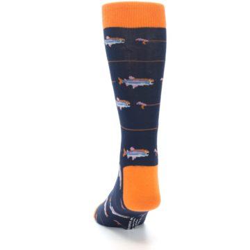Image of Navy Orange Fish Men's Dress Socks (back-17)