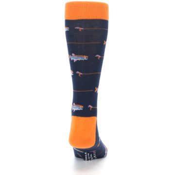 Image of Navy Orange Fish Men's Dress Socks (back-19)