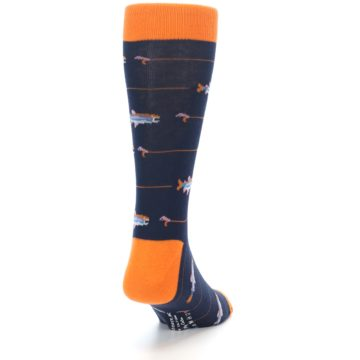 Image of Navy Orange Fish Men's Dress Socks (side-1-back-20)