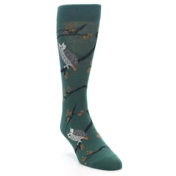 Image of Green Owls Men's Dress Socks (side-1-front-02)