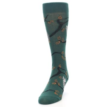 Image of Green Owls Men's Dress Socks (side-2-front-06)
