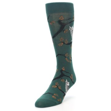 Image of Green Owls Men's Dress Socks (side-2-front-07)