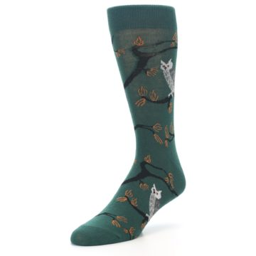 Image of Green Owls Men's Dress Socks (side-2-front-08)