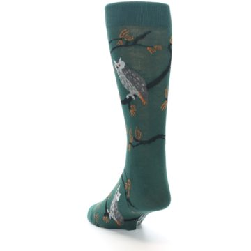 Image of Green Owls Men's Dress Socks (side-2-back-16)
