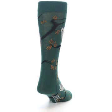 Image of Green Owls Men's Dress Socks (side-1-back-20)
