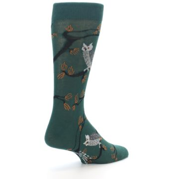 Image of Green Owls Men's Dress Socks (side-1-back-22)