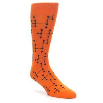 Image of Orange Navy Connected Dots Men's Dress Socks (side-1-front-01)