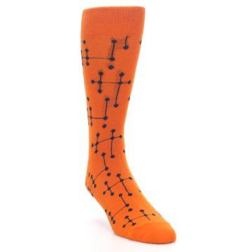 Image of Orange Navy Connected Dots Men's Dress Socks (side-1-front-02)