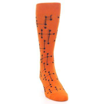 Image of Orange Navy Connected Dots Men's Dress Socks (side-1-front-03)