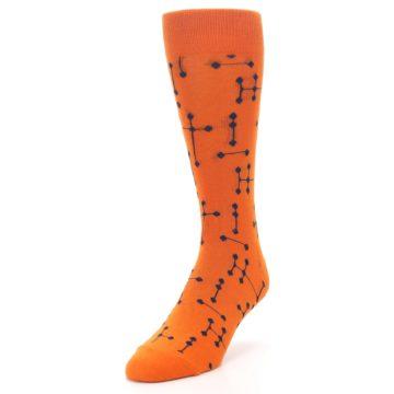 Image of Orange Navy Connected Dots Men's Dress Socks (side-2-front-07)