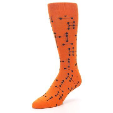 Image of Orange Navy Connected Dots Men's Dress Socks (side-2-front-08)